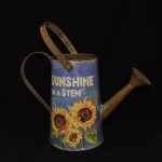 Blue Metal Sunflower Watering Can