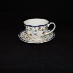 Graces Teaware Flowered Teacup & Saucer With Blue Rim