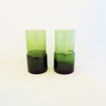 Vintage Hand Blown Olive Green Glass Tumblers