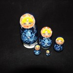 Hand Made Russian Blue Floral Nesting Dolls