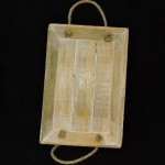 Hand Made Wood White Wash Tray With Rope Handles
