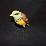 Hand Painted Resin Yellow & Brown Bird