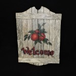 Hand Painted Wood Welcome Sign With Apples