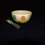 Ideal Home Range Song Contest Owl & Bird Dip Bowl With Spreader