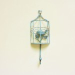 Shabby Blue Rustic Bird Cage Wall Hook
