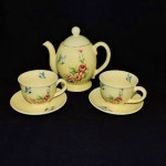 Vintage Ceramic Yellow Teaset With Butterflies & Roses