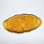 Vintage Indiana Glass Amber Sunflower Relish Tray