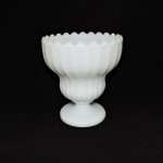 Vintage Large Milk Glass Compote With Scalloped Rim