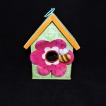 burton + Burton Joyful Blessings Hand Painted Metal Birdhouse With Pink Flower & Bumble Bee