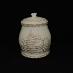 Antique White Cookie Jar Canister With Deer & Pine Trees
