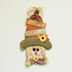 Burlap Happy Harvest Scare Crow Wall Hanging