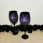 Hand Painted Black Goblet With Purple Spider Web