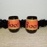 Hand Painted Stemless Halloween Boo Wine Glass