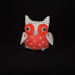 Stuffed Gray Christmas Owl With Red & White Snowflake Body