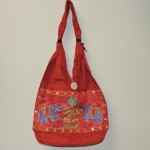 Indian Tribal Red BoHo Bag With Turquoise Elephants